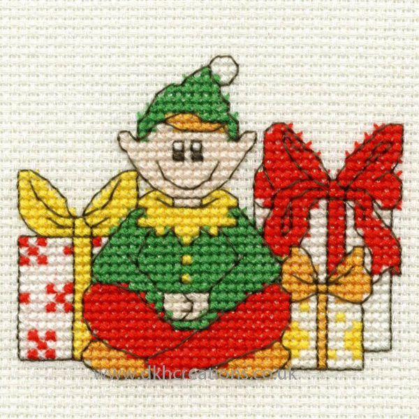 Christmas Elf With Gifts Mini Cross Stitch Kit
